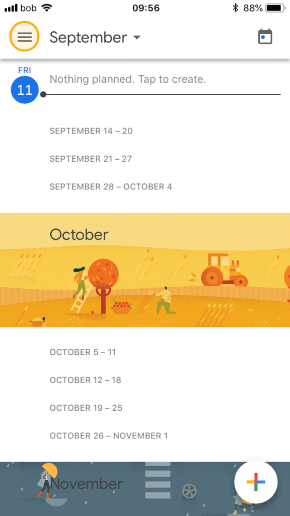 mobile-google calendar