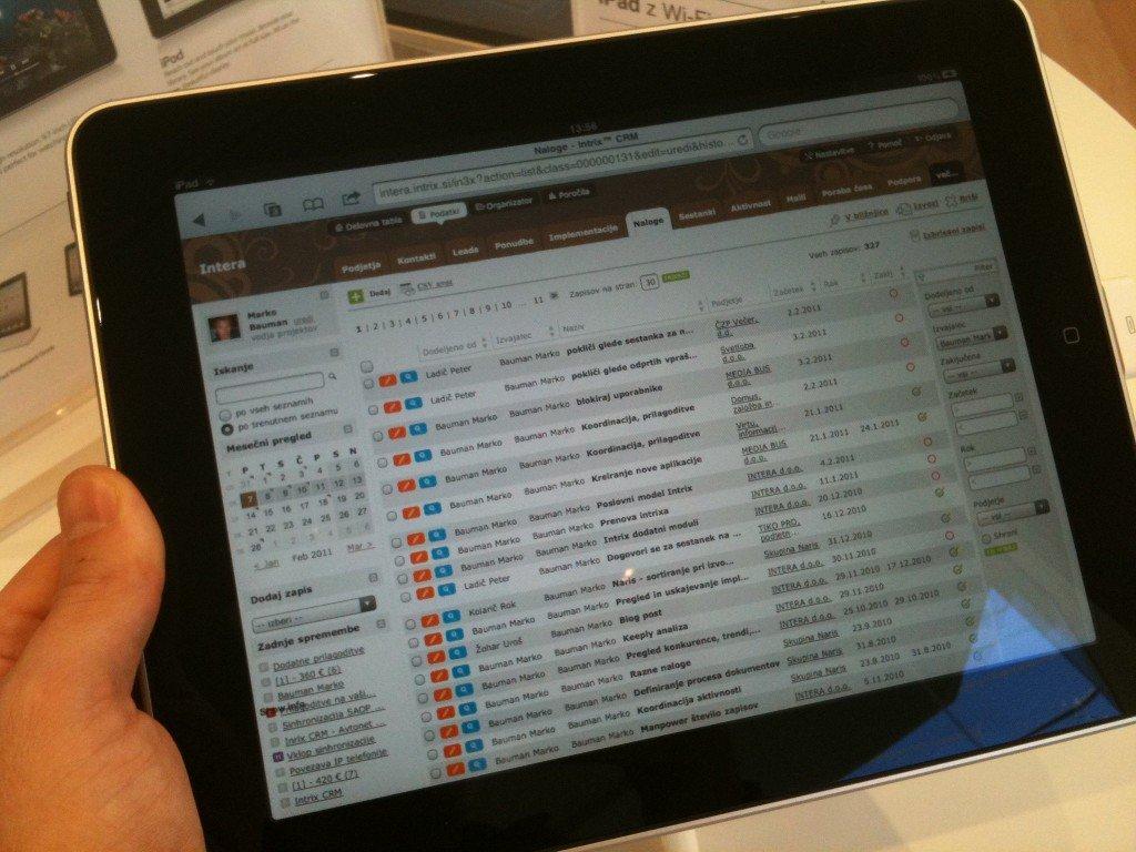 Program Intrix CRM in vodenje projektov na iPad-u