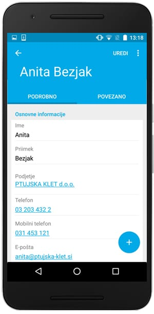 kontaktiranje strank v podjetju aplikacija