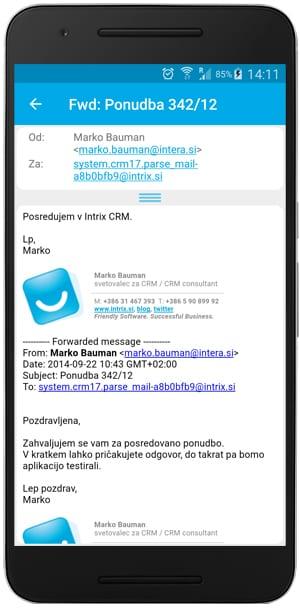 mobilna aplikacija intrix e pošta
