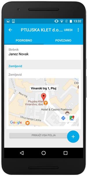 zemljevid za sestanek intrix mobilna aplikacija