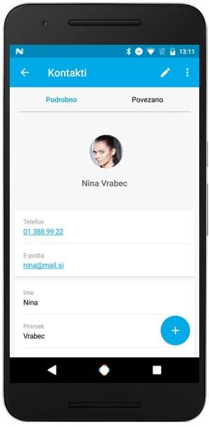 kartica strank in kontaktov v mobilni aplikaciji