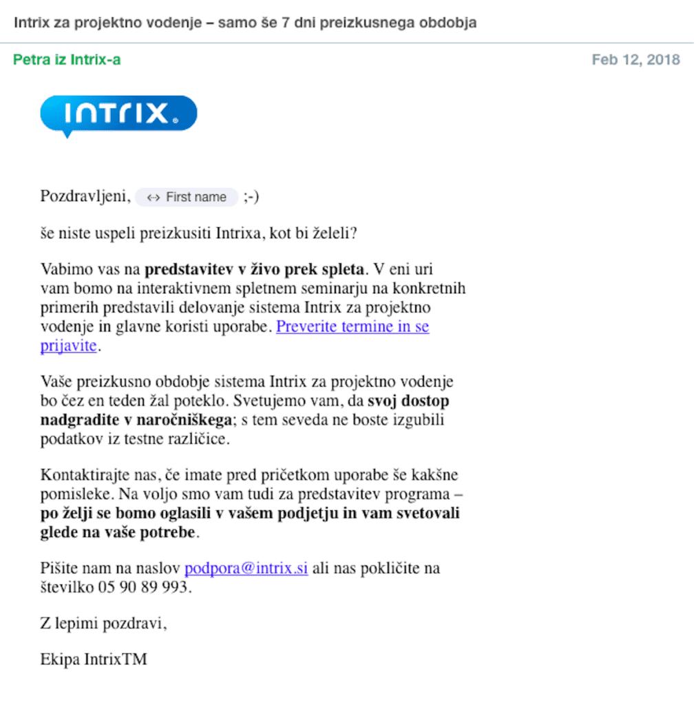 pozdravni email marketinška avtomatizacija
