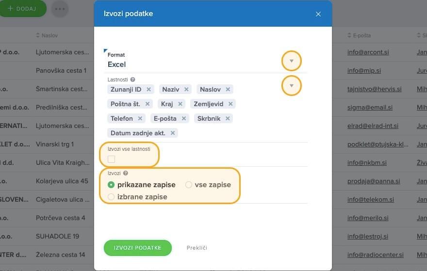 Izvozi-podatke-lastnosti-format
