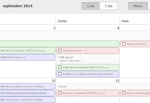 dnevni tedenski in mesečni pregled urnika v intrix crm